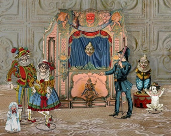 Printable French Paper Theater Antique Printable Punch & Judy Theater Vintage Printable Puppet Theater Digital Collage Instant Download