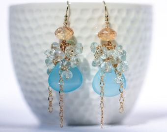 Aquamarine Earrings, Blue Earring, Gemstone Earrings, Blue Chalcedony Earring, Cluster Earring Bridal Earrings Gold Filled Earring