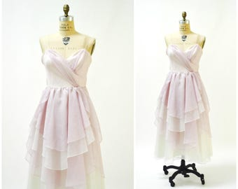 80s Prom Dress Purple White with Ruffles Size XS Small TD4// Vintage 80s Party Dress Organza Summer Dress 80s Bridesmaid Dress