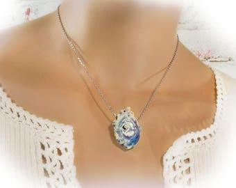 Victorian Rose necklace -handmade pendant necklace ,Pink Rose necklace -ceramic jewelry, Ceramic necklace, flower necklace , #  5