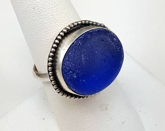 Sea Glass Ring Cobalt Blue Sea Glass Ring Cobalt Blue Sea Glass Jewelry Gift for Her Size 8 - R-167 Mothers Day Gift