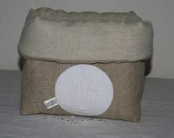 Fabric basket Organizer quilted linen and OC Monogram