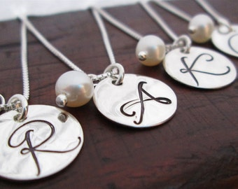 Bridesmaid Jewelry - Bridesmaid Necklaces - Set of 4 - Bridesmaid Initial Necklace - Monogram Necklace