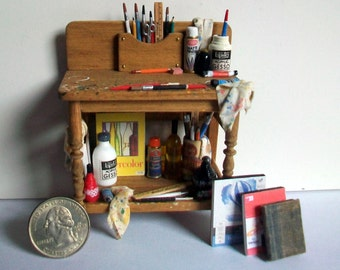 Artist Work Bench (1 inch scale dollhouse)