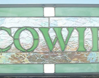 Family Name Sign, Stained Glass Window Panel, Custom Signage, Artist for Hire