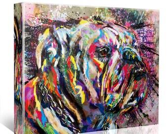 Bulldog Art, Bulldog Canvas, English Bulldog painting
