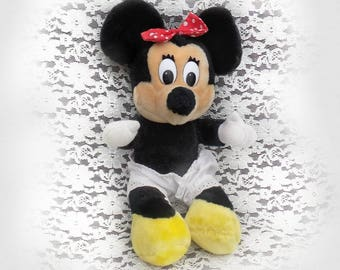 Vintage Minnie Mouse Doll - vintage Minnie Mouse collectible , 70's plush collectible doll -Soft Plush Stuffed Animal by Disney Land # 15
