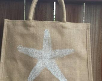 Natural jute tote bag with white starfish