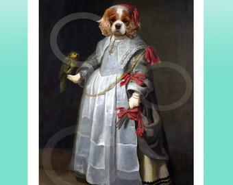 Blenheim Cavalier King Charles Spaniel Girl Dog Wearing Clothes Giclee Print 8.5 x 11  8 x 10 Quirky Animal Art Anthropomorphic Artwork