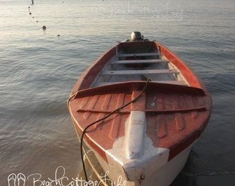 Red Wooden Fishing Boat - Calm Water Anchored Island of Roatan Caribbean Sea Cottage Beach House Wall Art Travel Photography Photo