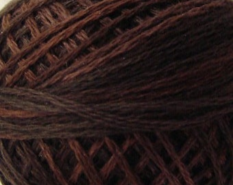 Size 8 | P12 Brown | VALDANI PERLE COTTON | Vintage Hues Sampler | Variegated Color | Hand Dyed Thread | 73 Yard Cotton Ball