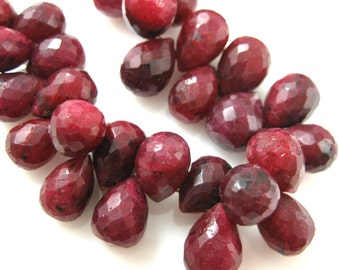 July Birthstone-Semi Precious Gemstone Beads-100% Genuine Ruby Dyed-Faceted Drops-Grade A/B Nature Stone- 9 mm-2 pcs-SKU:309001-RUB-09