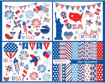 Clipart Bundle - 4th of July / Independence Day / American (USA) - Digital Clip Art (Instant Download)
