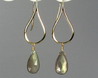 Labradorite and Gold Earrings - Blue Flash Teardrop Briolettes