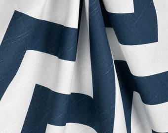 Navy Blue and White Chevron Curtains, Window Treaments, Navy Chevron Curtains, Living Room Curtains,