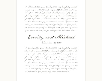Wedding Vows Art Print, Custom Personalized gift, 1st anniversary, handwritten font giclee