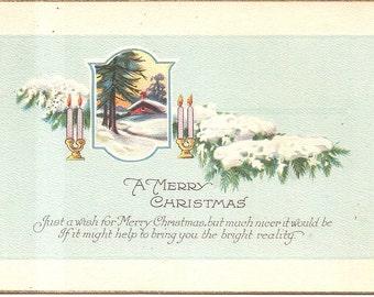 Vintage 1923 Postcard -  A Merry Christmas  - used