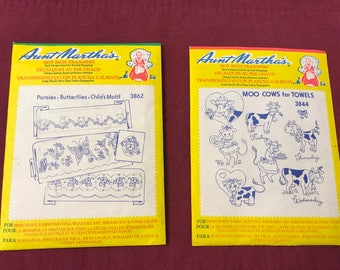 Aunt Martha's Hot Iron Transfers - Pansies, Butterflies, Child's Motif and Moo Cows for Towels