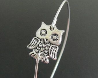Charm Bangle Bracelet Owl, Charm Bracelet, Wise Owl Jewlery, Owl Bangle, Silver Owl Jewelry, Charm Braclet, Owl Bracelet