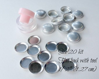 Size 20 Cover Button Starter Kit, FLAT backs- Size 20 (1/2 Inch, 1.27 cm) QTY 10, No Loop Buttons to Cover Plus Clear Hand Press Tool