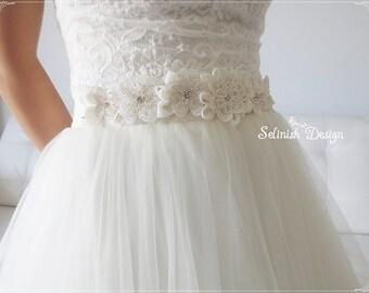 Bridal Sash Belt, Ivory Wedding Sash, Beaded Flower Bridal Sash, Belts & Sashes,Bridal Accessories- Style:SB154glm
