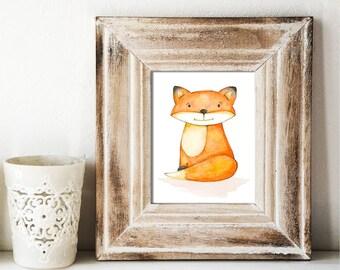Happy Fox Watercolor Print - Nursery Art - Original Painting by Angela Weber