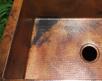 Copper Kitchen Sink, Single Well, Undermount/Drop In, Natural Patina