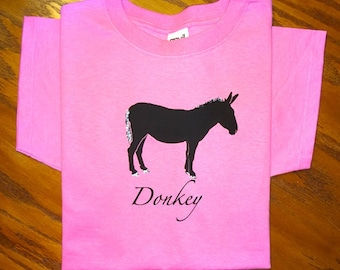 Donkey or Mule Glitter T-Shirt Personalized with Your Horse's Name or Breed Name