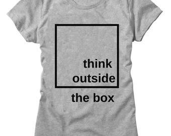 Think Outside The Box Black Square Design Women's T-shirt