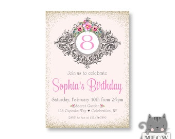 Elegant 8th Birthday Invitations for Girls, Shabby Chic Style, Birthday Tea Party, 9th 10th 11th Birthday or Any Age, Pink Faux Gold Glitter