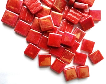 "12mm (1/2"") Bright Red Pearlized Recycled Glass Square Mosaic Tiles//Mosaic Supplies//Craft Supplies"