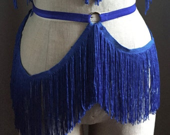 Fringe Burlesque Costume Shimmy Belt with Circle Detail Made to Order