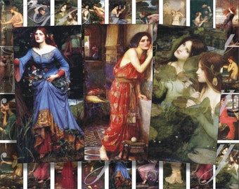 John William Waterhouse Art images 2x1 inches for pendant, scrapbook and more digital collage sheet No.775