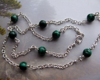 Malachite Sterling Silver Chain Necklace, Beaded Chain Layering Necklace