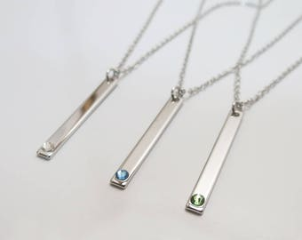 Birthstone Bar Necklace Silver Necklace  Gift for Mom Layered Necklace Birthstone Jewelry Personalized Jewelry Sister Gift