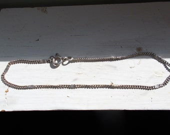 Antique solid sterling silver curb chain bracelet 6 7/8 inches