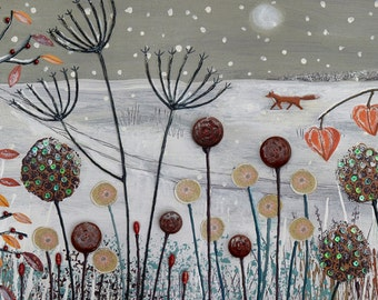 Large panoramic print of snow scene with blackbird and fox from an original mixed media painting 'Caught in the Snow' by Jo Grundy