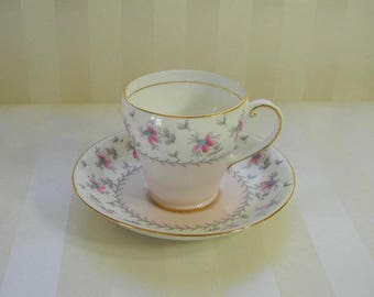 DEMITASSE TEACUP, Lovely Vintage ABJ Grafton Bone China Cup and Saucer