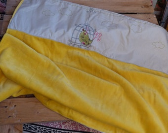 Yellow and white fleece baby blanket soft