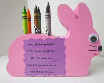 Wooden Bunny Crayon Holder~Educational Toy~Artist~Classroom~Bunny Crayon Holder~Birthday Gift~Party Favors~Photo Prop~Children Toy~Handmade
