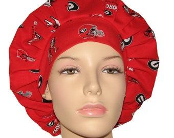 Bouffant Scrub Hats-University Of Georgia Bulldogs Fabric-Bulldogs Scrub Hat-Women's Scrub Hats-Anesthesia Scrub Hat-Georgia Scrub Hat