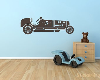 "Vintage Race Car Number 5 for Boys or Childs Room Vinyl Wall Decal for Home Decor 30""x10"""
