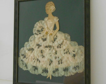 Vintage Lace Girl Paper Doll Framed Art