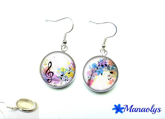 Earrings musical notes, 1386 glass cabochons