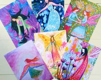 Fairy. A6 Postcard Set of Six Postcards with envelopes.