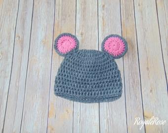 Gray and Pink Mouse Hat
