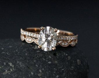 Rose Gold Oval Moissanite Engagement Ring & Milgrain Wedding Band Set - Forever One Colorless Moissanite
