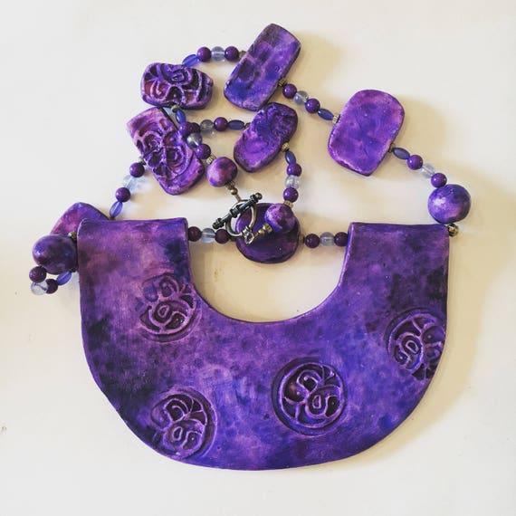 Vintage Handmade Ceramic Bib Necklace - Purple + Blue Bib Necklace with Ceramic Beads - Artist: Barbara Bloch