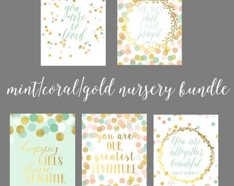 Mint, Coral, Gold Baby Girl Nursery Printable Bundle-Scripture and Quote Polka Dot Printables