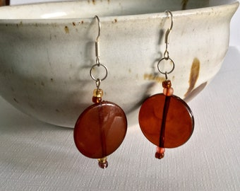 Amber Beads  -   Drop and Dangle Beaded  Earrings